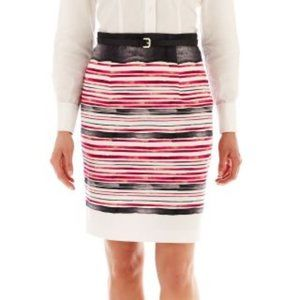 WORTHINGTON Cotton Pink Striped Pencil Skirt